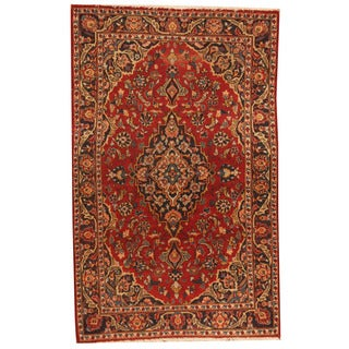 Herat Oriental Persian Hand-knotted 1960s Semi-antique Kashan Red/ Navy Wool Rug (3'6 x 5'7)