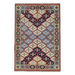 Afghan with Caucasian Design Pure Wool Handmade Rug (4' x 5'10)