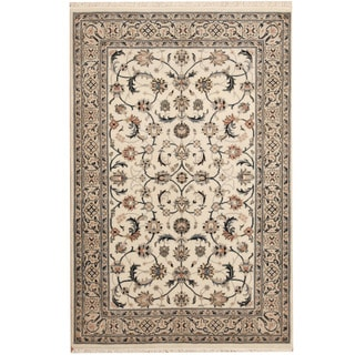Herat Oriental Indo Hand-knotted Nain Ivory/ Navy Wool Rug (4' x 6')