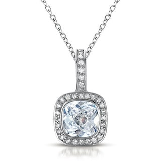 Collette Z Sterling Silver clear Cubic Zirconia Square Necklace