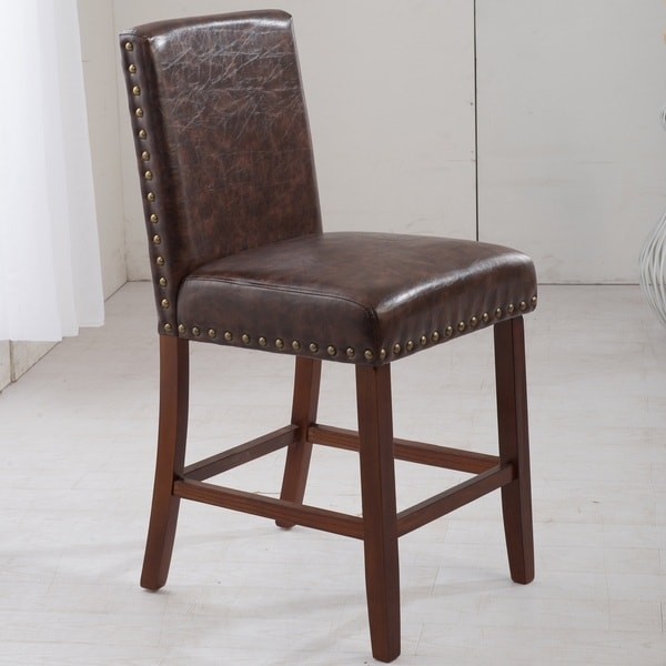 Luxury Brown Faux Leather Barstool With Nailhead Trim
