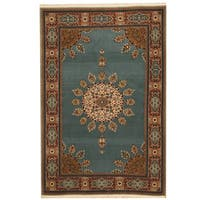 Herat Oriental Persian Hand-knotted Tribal Mashad Wool Rug - 4'2 x 6'2