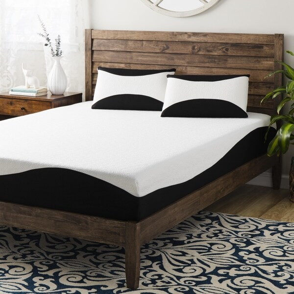 shop 10 inch queen size gel memory foam mattress with 2 bonus memory foam pillows free. Black Bedroom Furniture Sets. Home Design Ideas