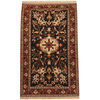 Herat Oriental Persian Hand-knotted Tribal Quchan Navy/ Red Wool Rug (4'4 x 7')