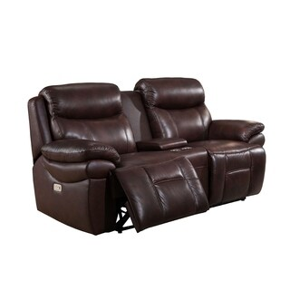 Sanford Leather Power Loveseat Recliner with Power Headrests & USB Ports