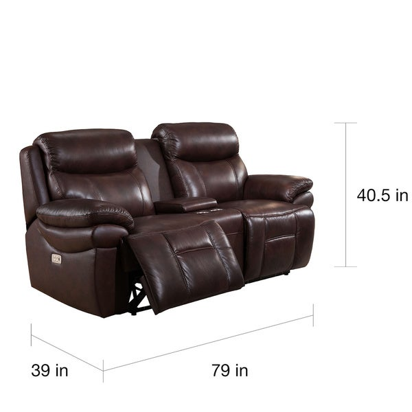 Sanford Top Grain Leather Power Reclining Loveseat with Power Headrests and USB Ports - Free Shipping Today - Overstock.com - 18557240  sc 1 st  Overstock.com & Sanford Top Grain Leather Power Reclining Loveseat with Power ... islam-shia.org