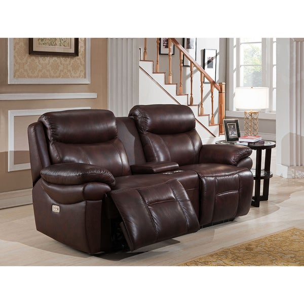 Sanford Top Grain Leather Power Reclining Loveseat with Power Headrests and USB Ports  sc 1 st  Overstock.com : power reclining loveseats - islam-shia.org
