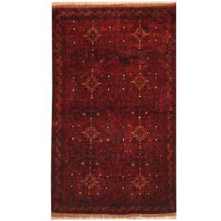 Herat Oriental Afghan Hand-knotted Khal Mohammadi Red/ Navy Wool & Silk Rug (3'10 x 6'7)