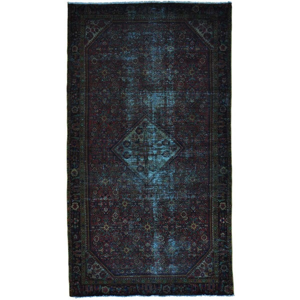 Worn Down Overdyed Persian Hamadan Handmade Oriental Rug (5'5 x 9'8)