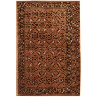 Herat Oriental Afghan Hand-knotted Turkoman Brown/ Gold Wool Rug (4' x 6')