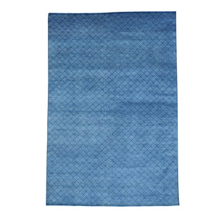 Denim Blue Tone-on-tone Wool and Silk Hand-knotted Rug (6' x 9')