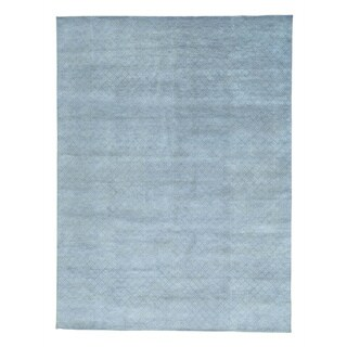 Modern Tone-on-tone Wool and Silk Hand-knotted Rug (8'10 x 11'10)
