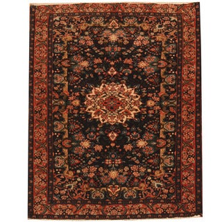 Herat Oriental Persian Hand-knotted Hamadan Navy/ Salmon Wool Rug (4' x 5')