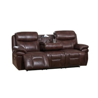 Sanford Top Grain Leather Power Reclining Sofa with Power Headrests and USB Ports