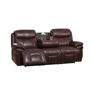 Sanford Leather Sofa Recliner With Headrests And Usb Ports