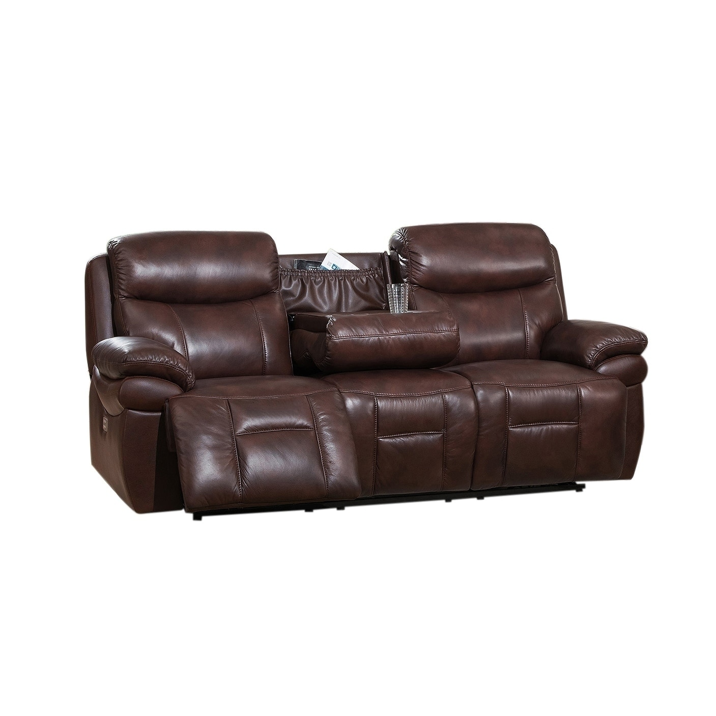 Sanford Leather Power Sofa Recliner with Power Headrests and USB Ports