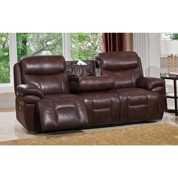 Sanford Top Grain Leather Power Reclining Sofa With Power