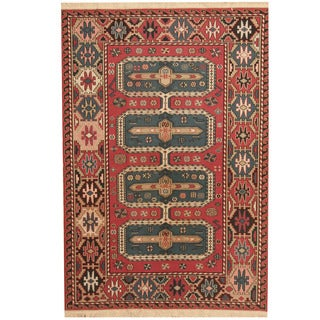 Herat Oriental Afghan Hand-woven Soumak Kilim Rose/ Ivory Wool Rug (4'1 x 6')