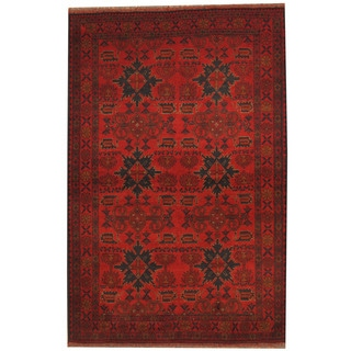 Herat Oriental Afghan Hand-knotted Khal Mohammadi Red/ Navy Wool Rug (4'4 x 6'7)