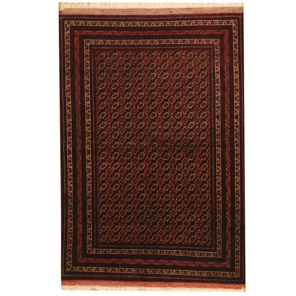 Herat Oriental Afghan Hand-knotted Turkoman Wool and Silk Rug (4'1 x 6') - 4'1 x 6'