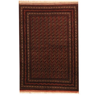 Herat Oriental Afghan Hand-knotted Turkoman Red/ Brown Wool & Silk Rug (4'1 x 6')