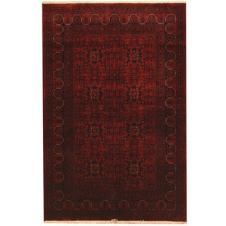 Herat Oriental Afghan Hand-knotted Tribal Khal Mohammadi Red/ Navy Wool Rug (4'11 x 6'2)