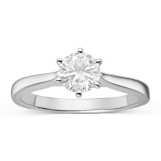 Charles & Colvard Forever Classic Sterling Silver 7/8ct TGW Moissanite Solitaire Ring
