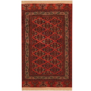 Herat Oriental Afghan Hand-knotted 1940s Semi-antique Turkoman Red/ Ivory Wool Rug (3'9 x 5'9)