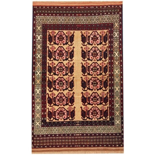 Herat Oriental Afghan Hand-knotted Turkoman Ivory/ Red Wool & Silk Rug (3'8 x 5'8)