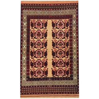 Herat Oriental Afghan Hand-knotted Turkoman Wool and Silk Rug (3'8 x 5'8)