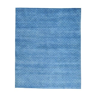 Hand-knotted Tone-on-tone Denim Blue Wool and Silk Rug (8' x 9'9)