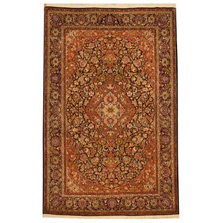 Herat Oriental Indo Hand-knotted Kashmiri Isfahan Rust/ Black Wool Rug (4' x 6')