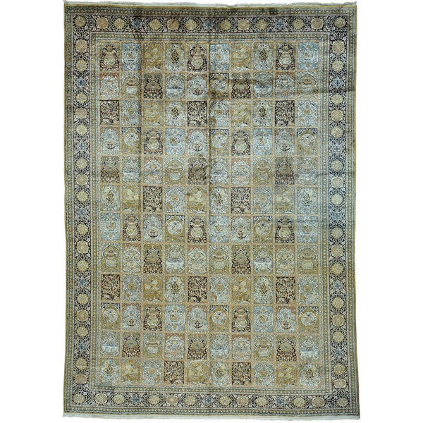 "Persian Semi Antique Silk Qom Garden Design Full Pile Rug (9'1 x 12'8) - 9'1"" x 12'8"""