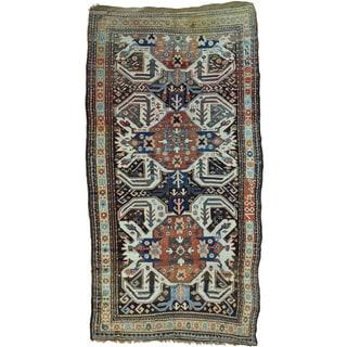 Antique Eagle Kazak Caucasian Design Wide Runner Rug (5' x 10'3)