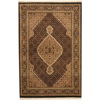 Herat Oriental Indo Hand-knotted Tabriz Black/ Green Wool & Silk Rug (3'11 x 5'11)