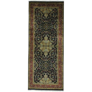 Wide Kashan Revival New Zealand Wool Oriental Runner Rug (4' x 9'10)