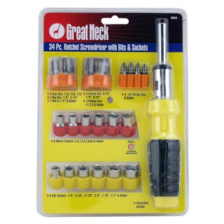 Great Neck 92018 34 Piece Ratchet Screwdriver Set