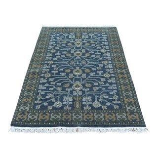 Navy Blue Samarkand Pure Wool Hand-knotted Oriental Rug (3' x 5')