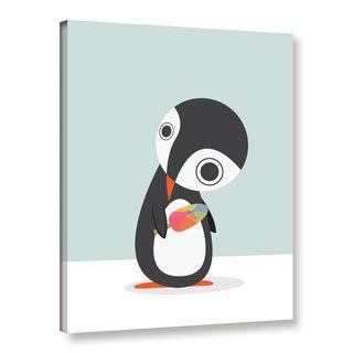 Volkan Dalyan's 'Pingu Loves Ice Cream' Gallery Wrapped Canvas