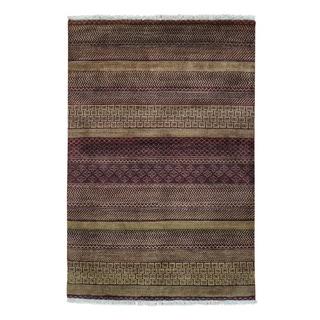 Grass Design Modern Gabbeh Pure Wool Hand-knotted Rug (4' x 6')