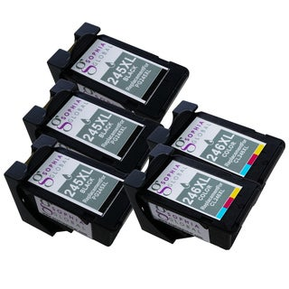 Sophia Global Compatible Ink Cartridge Replacement for PG-245XL CL-246XL with Ink Level Display (3 Black, 2 Color)