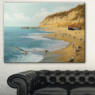 Designart 'The Calm Beach' Landscape Painting Canvas Print