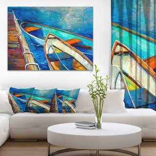 Designart 'Boats and Pier in Blue Shade' Seascape Painting Canvas Print