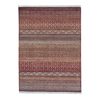 Hand-knotted Modern Gabbeh Grass Design Pure Wool Rug (5'1 x 7')