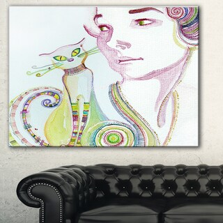 Designart 'Cute Girl with Cat' Portrait Painting Canvas Print