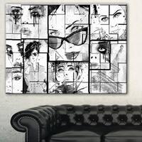 Designart 'Many Girl Faces Collage' Portrait Digital Art Canvas Print