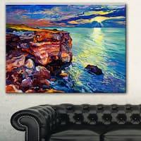 Designart 'Beautiful Ocean and Cliffs' Seascape Painting Canvas Print