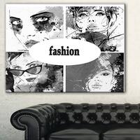 Designart 'Collage of Girl Faces' Portrait Digital Art Canvas Print