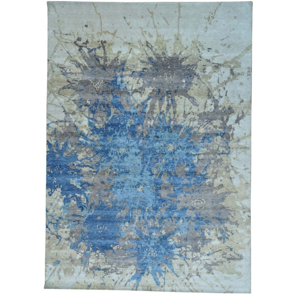 "Splash Design Modern Wool Hand-knotted Rug (10' x 14') - 10'0"" x 14'0"""
