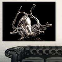Designart 'Silver Octopus' Abstract Digital Art Canvas Print
